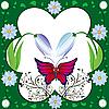 Бабочка и цветочная рамка | Векторный клипарт
