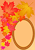 Herbstliche Ahornblätter und Holzrahmen