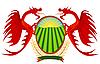 Heraldik, roten Drachen mit Schild.