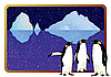 Antarctic penguins and icebergs