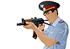 Vector clipart: Russian police officer with gun