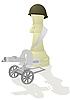 Weiße Schach-Königin mit einem Maschinengewehr | Stock Vektrografik
