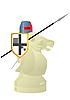 weißer Schach-Springer als Ritter