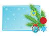 Visitenkarte mit Weihnachtskugeln