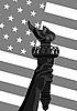Flagge und eine Taschenlampe