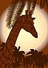 Векторный клипарт: Жираф и ночной пейзаж