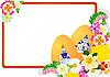 Osterkarte mit Eiern und Blumen