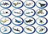 Set von militärischen Flugzeugen