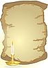 Altes Pergament und Kerze