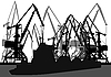Векторный клипарт: Портовые краны и баржи