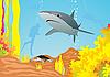 Vektor Cliparts: Shark und Taucher