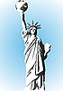 Vektor Cliparts: Statue of Liberty und der Planet Erde