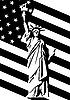 Freiheitsstatue und US-Flagge