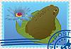 Briefmarke mit einem Frosch