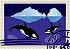 Briefmarke mit Schwertwalen