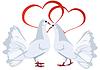 Zwei weiße Tauben und Herzen