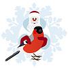 Bullfinch in den Händen von Santa Claus