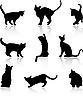 Силуэты кошек | Векторный клипарт