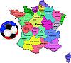 Landkarte von Frankreich mit Fußball