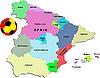 Landkarte von Spanien mit Fußball