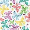 无缝图案与蝴蝶 | 向量插图