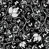 无缝黑白花卉图案 | 向量插图