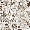 重复棕白色的花卉图案 | 向量插图