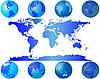 Weltkugeln und Weltkarte