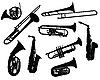 Силуэты духовых инструментов | Векторный клипарт
