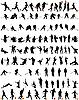 танцы и спорт - набор силуэтов