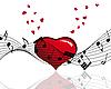 Herz und Musik-Noten