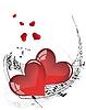 Musiknoteen und Valentinstag-Herzen