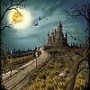 Nacht, Mond und dunkle Festung | Stock Illustration