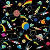 schwarzer Weltraum-Hintergrund mit Raketen und Planeten