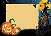 Открытка на Хэллоуин со свитком-рамкой | Векторный клипарт