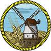 标签与风车 | 向量插图