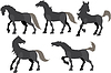 Fünf Pferde tummeln Silhouette