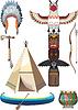 Set von amerikanischen Indianern