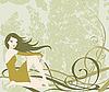 Девушка в зеленом | Векторный клипарт