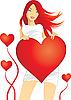 Рыжая девушка с сердечком | Векторный клипарт