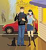 Straßencafé, junger Mann und ein Mädchen | Stock Vektrografik