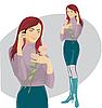 Schönes Mädchen rufen per Telefon | Stock Illustration