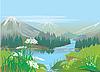 Górskie jezioro | Stock Illustration