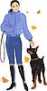 Mädchen und Hund im Herbst | Stock Vektrografik