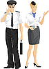 Flieger und Stewardess | Stock Vektrografik