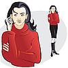 Mädchen im roten Pullover mit einem Mobiltelefon | Stock Vektrografik