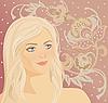ID 3094387 | Frauen-Gesicht am floralen Muster | Stock Vektorgrafik | CLIPARTO