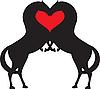Konie i czerwone serce | Stock Vector Graphics
