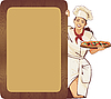 Italienische Kellnerin und Pizza-Menü | Stock Vektrografik