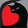 ID 3280573 | 검은 고양이와 붉은 마음 | 벡터 클립 아트 | CLIPARTO